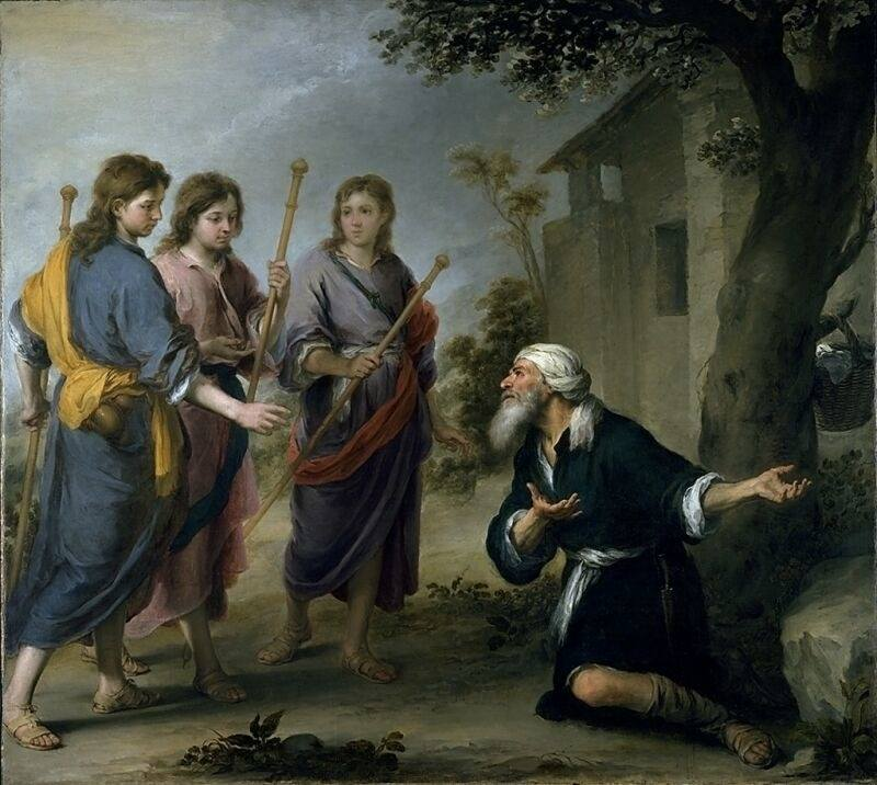Abraham and the Three Angels by Murillo, high resolution image