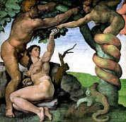 Eve and Adam and the Serpent in the Garden Michelangelo Royalty Free Images
