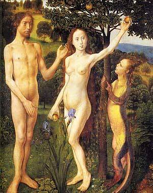 The Fall of Adam and Eve, Hugo van der Goes 1470 royalty free images