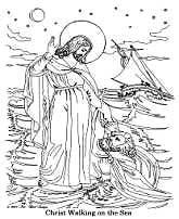 Jesus Walking on the Water, Free Bible Coloring Pages