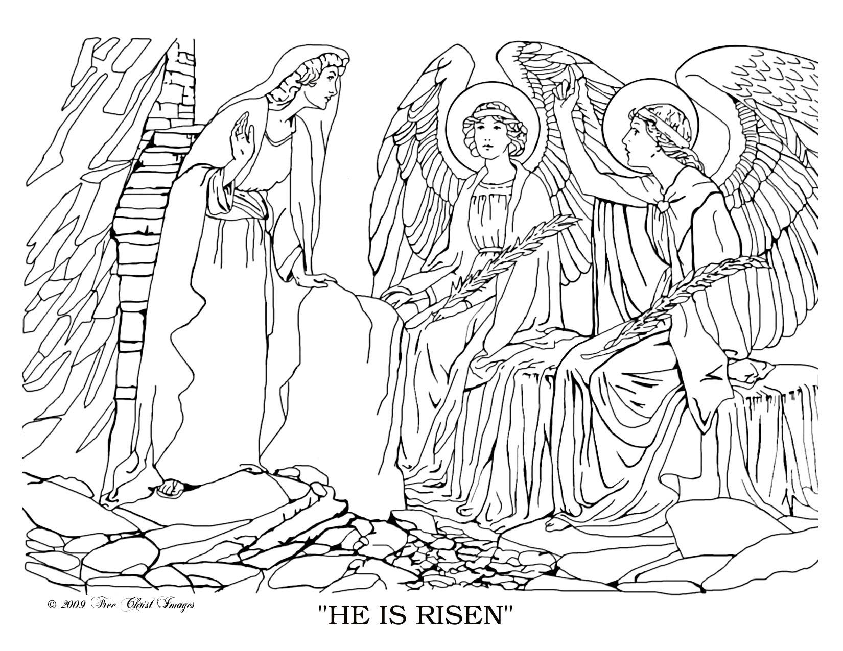 Coloring Page for Risen Jesus on the Road to Emmaus