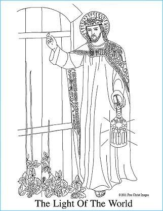 Jesus the Light of the World Free Coloring Page, Jesus standing at the door knocking