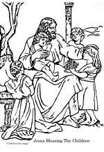 Bible Coloring Pages - Jesus Blessing the Children