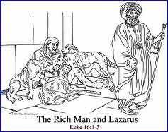 The Rich Man and Lazarus the Beggar, Free Coloring Page