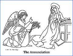 The Annunciation Free Printable Bible Coloring Page