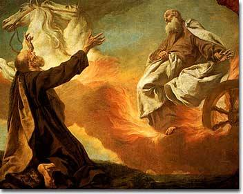 Elijah taken up to Heaven in a chariot of fire.