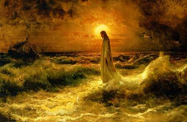 Christ Walking on the Waters by Julius Klever, high resolution image