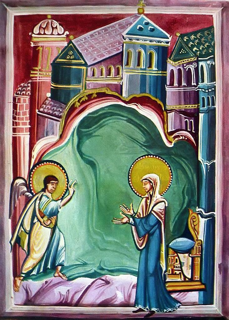 Annunciation 10th Century Meister des Sakramentars dans immagini sacre Annunciation_Meister_des_Sakramentars