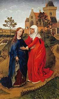 Rogier van der Weyden, The Visitation of Mary, Mary and Elizabeth, high res, royalty free