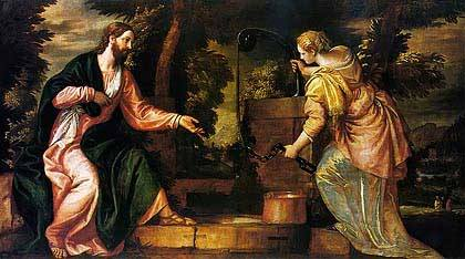 Christ and the Woman of Samaria, Paolo Veronese c. 1550, royalty free Christian art