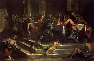 The Last Supper by Tintoretto c. 1571 Royalty Free Images