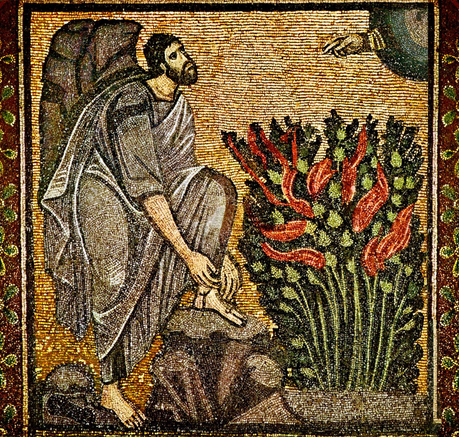 Moses And The Burning Bush (Byzantine Mosaic; St. Catherines Monastery, South Sinai, Egypt)